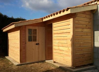 Abri de jardin avec abri b ches for Abri jardin 5m2 bois