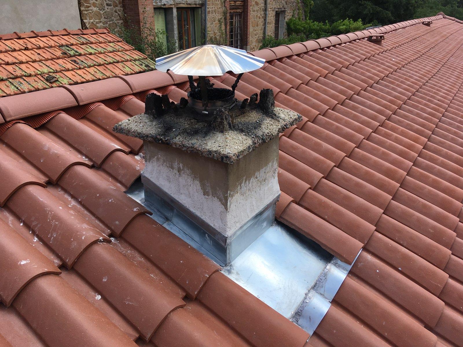 abergement de cheminée en zinc