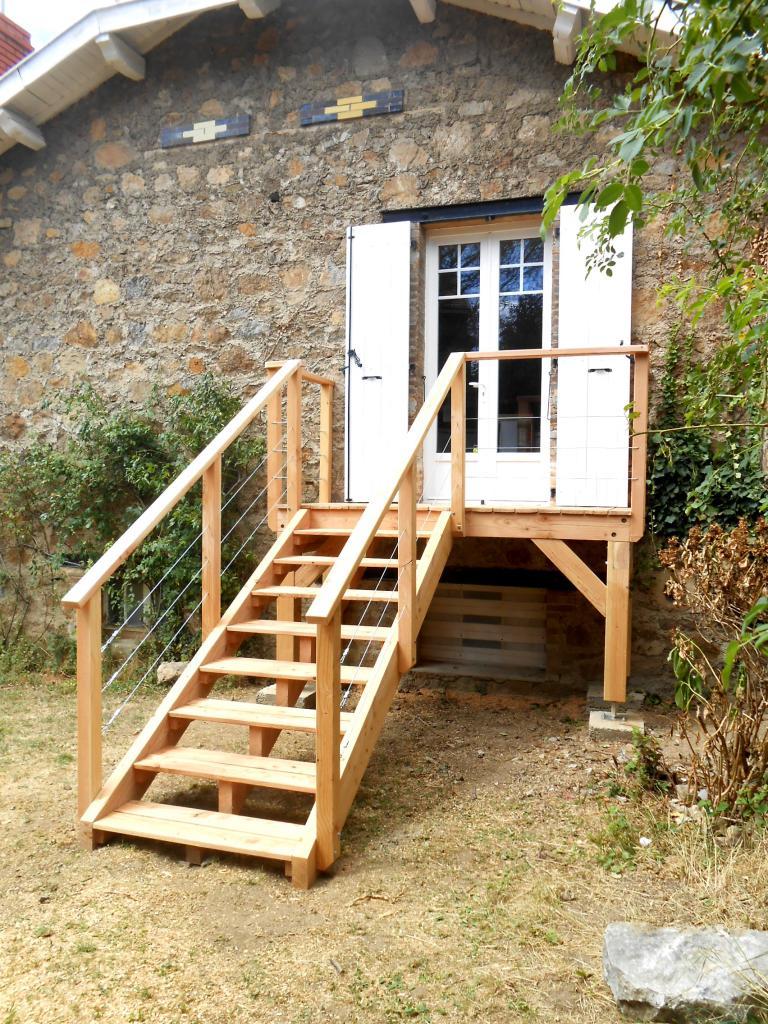 balcon escalier bois