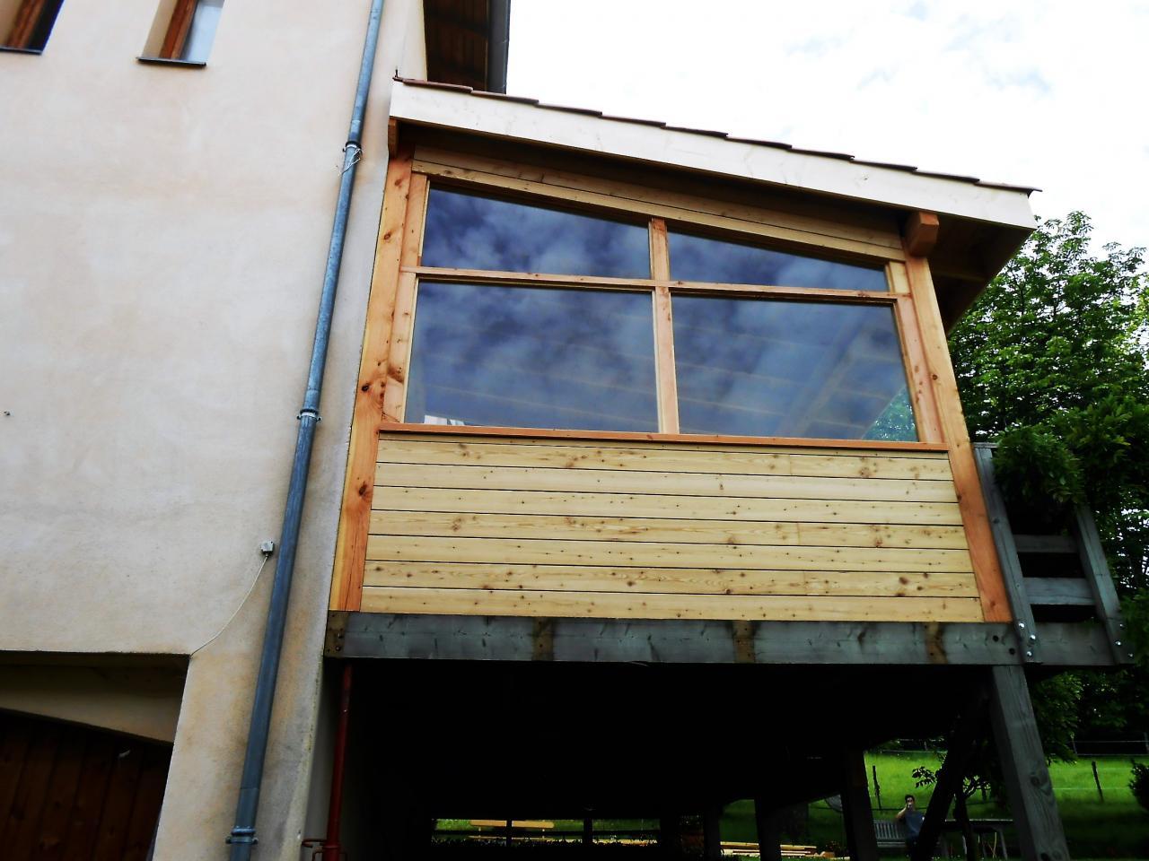 appentis façade bardage vitres